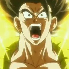 Gogeta sul punto di diventare Super Saiyan.