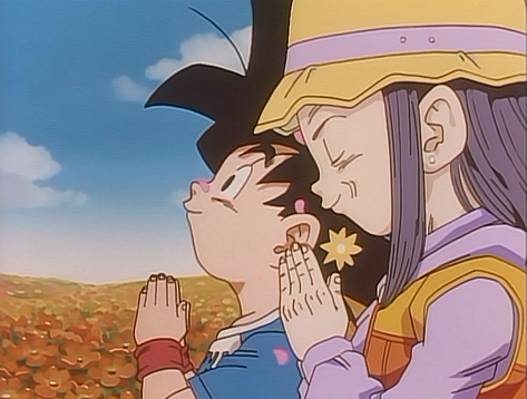 imagem pan and goku jr praying png dragon ball wiki brasil