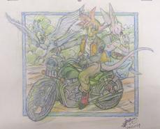 Goku y Beerus en moto (Takahashi)