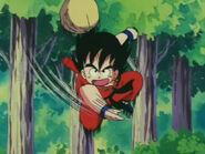 Goku le lanza la piedra