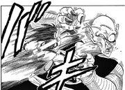 Goku elbows Demon King Piccolo