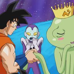 Son Goku assieme a Jaco e al Re Galattico.