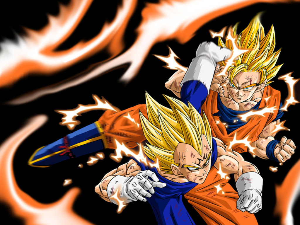 image - goku ssj2 vs majin vegeta wallpaper | dragon ball wiki