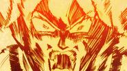 Broly es interceptado por el ataque de Vegeta