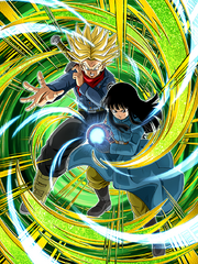 Dokkan Battle Mortal Pride Super Saiyan Trunks (Future) & Mai (Future) card (SSJ Future Trunks & Future Mai Evil Containment Wave UR)