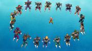 Kuririn rodeado de soldados
