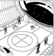 DXRD Caption of Sorbet's elites' debut in Sorbet's spaceship with echinda-like soldier, DBZ Fukkatsu No F 1st manga chapter page -8