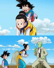 Chichi Goten e Goku nel corpo di Zamasu