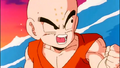 Krillin bracing for a tidal wave