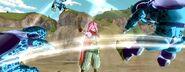 Dragon Ball Xenoverse - Heroína Majin combatiendo a los Cell Jr.