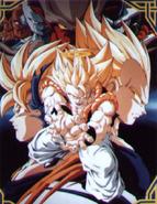Gogeta y varios enemigos Poster 2Version (grande)