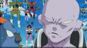 DXRD Caption of Captain Ginyu in Tagoma's body scolds Sorbet (Frieza's 1000 soldiers army in the background)