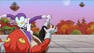 DXRD Caption of Jaco defeats an orange Sorbet's Frog-Subordinate like alien in Dragon Ball Super Episode 31 preview