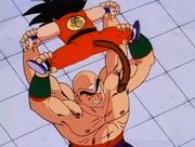 Tenshinhan blocca Son Goku con le quattro braccia