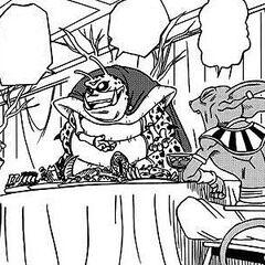 Gli abitanti del pianeta preparano e servono il cibo al Divino Beerus.