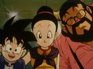 Gohan, Chi-Chi y Ox-Satan luego del nacimiento de Goten
