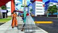 Future Warrior interacting with Yamcha in a city