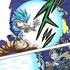 Son Goku scaglia la Kamehameha divina contro Molo.