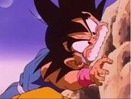 Goku bites rock