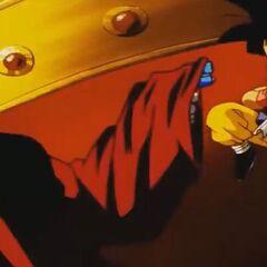 Mucchi Mocchi si scontra con Son Goku.