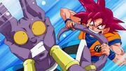 Goku morde la coda di Beerus