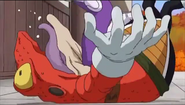 DXRD Caption of Jaco attacks an orange Sorbet's Frog-Subordinate like alien in Dragon Ball Super Episode 31 preview