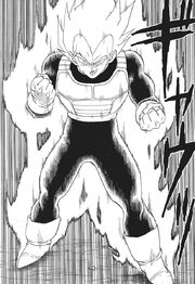 Vegeta transforms into a Super Saiyan