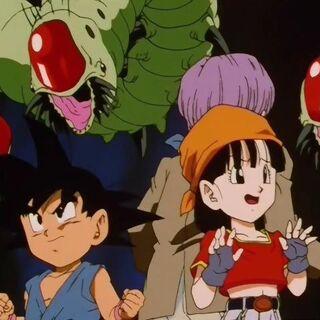 Goku, Pan e Trunks circondati dai Mouma.
