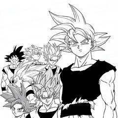 Son Goku e le sue trasformazioni, disegnate da Toyotaro.