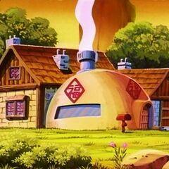 La casa di Goku vista dal retro.