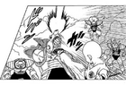 DXRD Caption of Krillin diverts Frog-Face's race PTO soldier's blast with a kick (Frankenstein-esque & Sui's race soldiers in the bg), Fukkatsu No F Manga chapter 3
