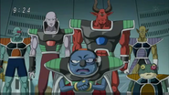 DXRD Caption of Sorbet's Third Stellar Region Army elites in front of Frieza (Tagoma, Shisami, Frog-Subordinate & bouncers) - Dragon Ball Super episode 20