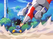 180px-7. Goku battles against the combined might of the Super Mega Cannon Sigma