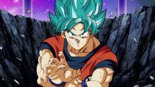 Goku dopo aver lanciato la Kamehameha