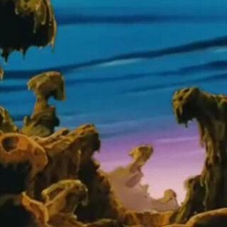 Il paesaggio roccioso sul pianeta Luud.