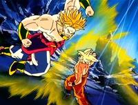 Broly a punto de golpear a Goku