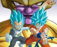 Goku y Vegeta Super Saiyajin Dios Super Siayajin