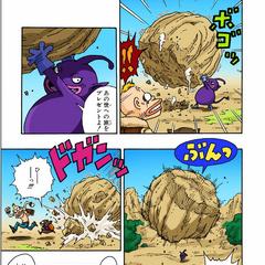 Il demone scaglia la pietra contro i due ospiti di Nekomajin