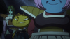 Zarbon, Kikono and Berryblue on King Cold's spaceship in front of Planet Vegeta