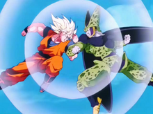 Goku SSJ Full Power vs Cell Perfecto
