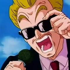 Il cronista del Tenkaichi con gli occhiali da sole (DBZ).