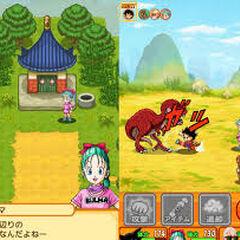 Son Goku e Bulma alla ricerca delle sette sfere.