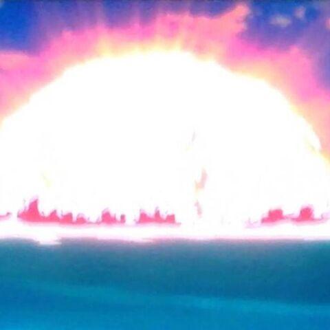 La Città del Nord distrutta da Freezer con un Death Beam in la Resurrezione di F.