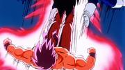 Goku kicks Vegeta