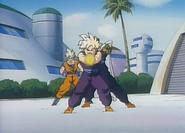 Gohan preparando un super masenko en el plan para erradicar a los saiyajins