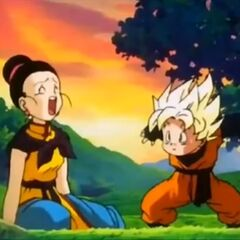 Chichi e Goten che si allenano nella Foresta orientale.