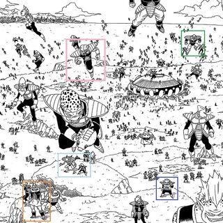 Esercito di Freezer, si possono vedere degli individui i cui design ricordano personaggi noti del mondo di Dragon Ball. Nel riquadro rosso Lezik, in quello viola un Yardratiano, in quello blu Avo e Kado, in quello rosa Kyui, in quello arancione un Kanassiano, in quello azzurro Yakon e Puipui e nel riquadro verde Nappa.