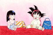 Baby Goku and Chi-Chi at X-mas