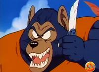 Lobo Hombre usando un cuchillo