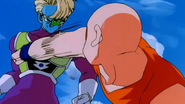 Krillin tries to punch Salza